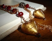 SALE Layered Lampwork Gold Glass Heart Necklace with Red Crystals on a Vintage Red Brass Chain, Romantic, Boho