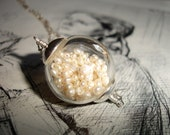 Romantic Hand Blown Glass Globe Filled with Freshwater Pearls, Sterling Silver Necklace, Modern, Bridal, Wedding