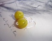 Yellow Hand Blown Glass Sterling Silver Dangle Earrings, Stripes, Bright and Cheerful, Summery