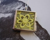 Vintage Bright Yellow Flower Lace Display in a Silver Hinged Pendant Locket, Bright and Summery