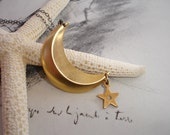 Celestial Necklace, Brass Crescent Moon and Vintage Brass Star Charm Necklace, Sterling Silver, Romantic, Ethereal, Whimsical