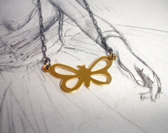 Vintage Gold Plated Butterfly Charm Pendant on a Sterling Silver Chain, Minimalist, Modern
