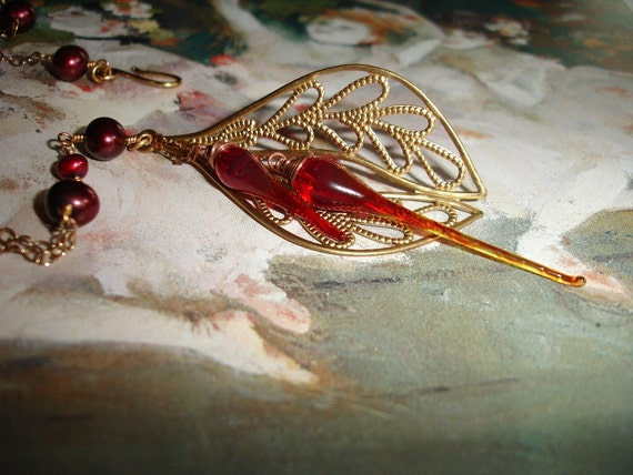 Handmade Lampwork Glass and Freshwater Pearl Brass Filigree Romantic Necklace