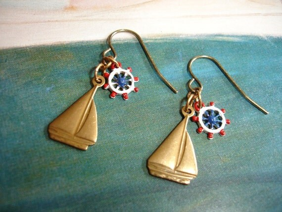Let's Sail Away, Vintage Brass Sail Boat and Wheel Helm Charm Earrings, Nautical, Whimsical