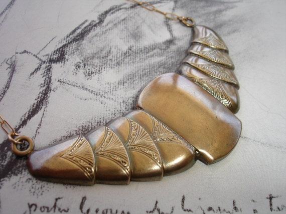 Art Deco Vintage Brass Bib Necklace, Gold Fill, Lapis Lazuli and Pyrite, Egyptian Revival, Unique, Elegant, Geometric