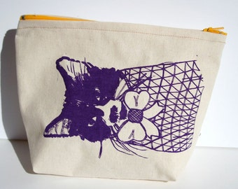 My Girl Pouch Bag in Natural Canvas with Yellow Zip - Screen Printed