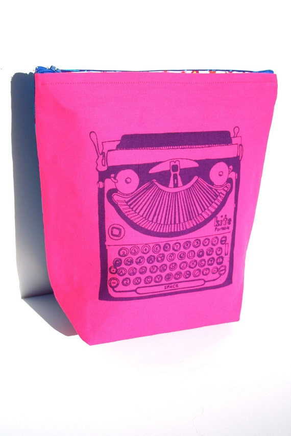 SALE SALE SALE Double Sided Hot Pink Electric Blue and Purple Typewriter Bag - Screen Printed