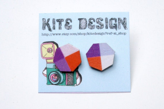 Illustrate Post Stud Earrings in Purple and Orange