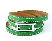 Leather bracelet,Wrap bracelet,Green leather wrap bracelet wristband (L03 -1)