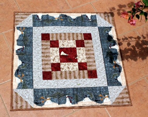 Snow Wonderland Table topper - quilted Christmas table topper