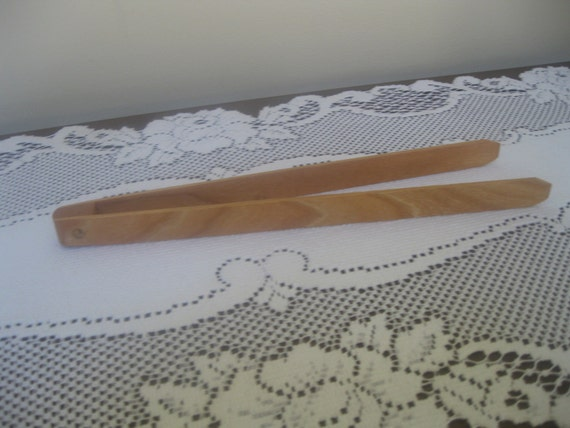 Cherry Handmade Hardwood Kitchen Tongs Great for Toast or Bacon