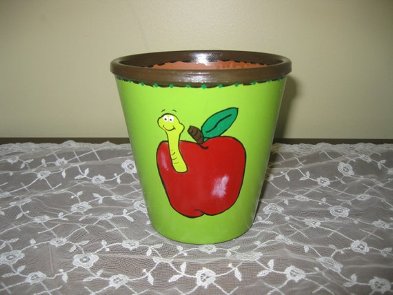 """Flower Pot """"Apple with Worm"""""""