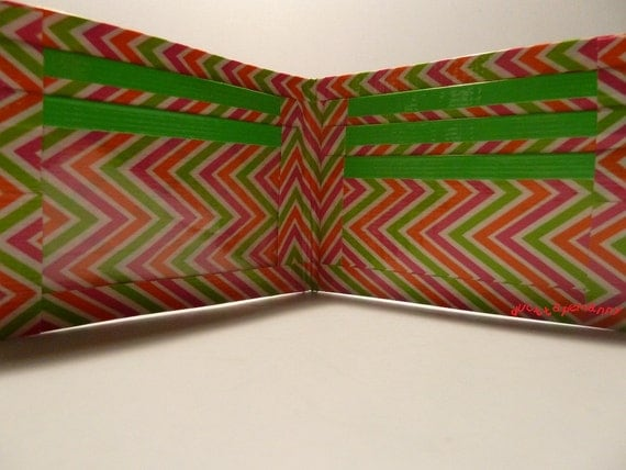 handmade duct tape wallet with multi color zig zag
