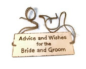 Rustic Wedding Decor. Wood burned wedding plaque for your Wish Tree, or Bird Cage.  Barnyard Chic.