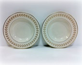 Old Ivory Syracuse China Soup Bowls Gold Leaves