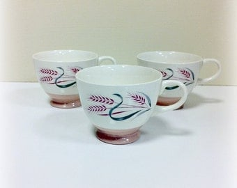 Vintage Pink Radiance Teacups Homer Laughlin Pink Wheat