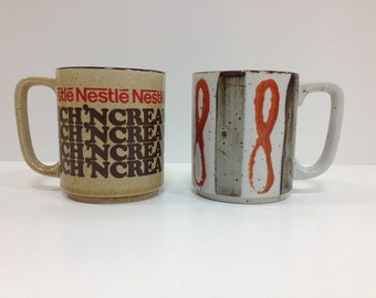 Vintage Cocoa Mugs Nestle Rich 'N Creamy and Boho Chic