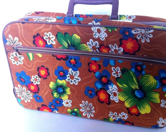 Vintage Suitcase Small Canvas Bright Flowers on Autumn Brown