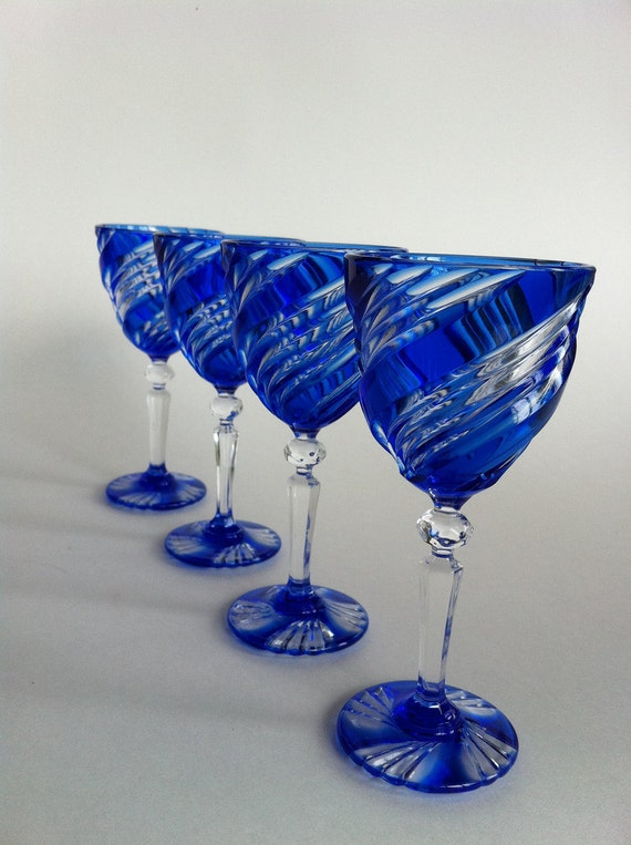 Crystal Cobalt Blue Durand Cordial Glasses By