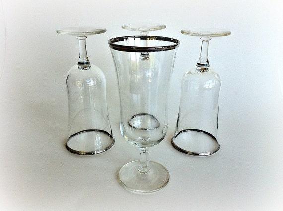 Vintage silver rimmed crystal stemware - Lenox gold rimmed wine glasses ...
