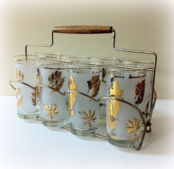 Vintage Glassware Tumblers Gold Leaf Libbey in Caddy