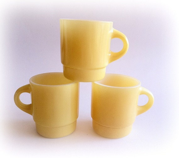 Fire King Mugs Retro Sunshine Yellow