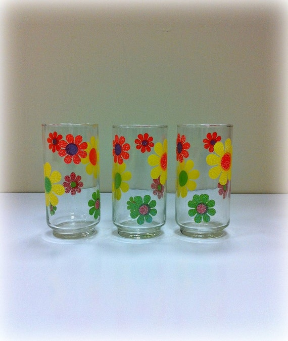70s Flower Tumblers Retro Groovy Libbey By Vintage19something