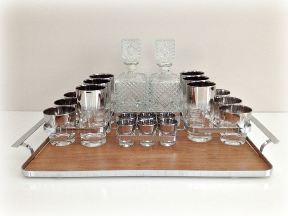 Vintage Glassware Ombre Silver Fade Glasses Lusterware and Decanters with Caddy