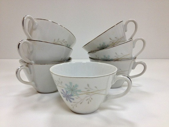 Mid Century Modern Teacups Aqua and Violet Atomic Star
