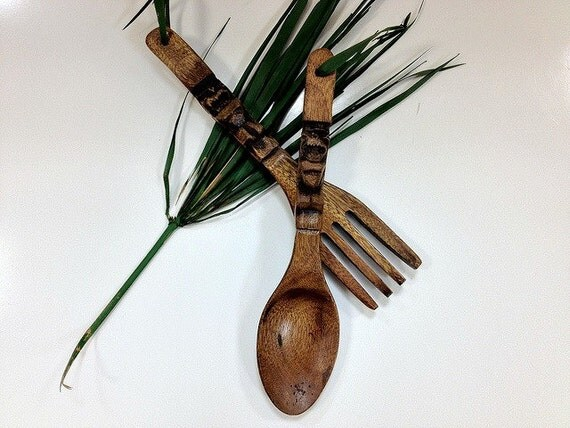 Tiki Fork and Spoon Wooden Wall Decor
