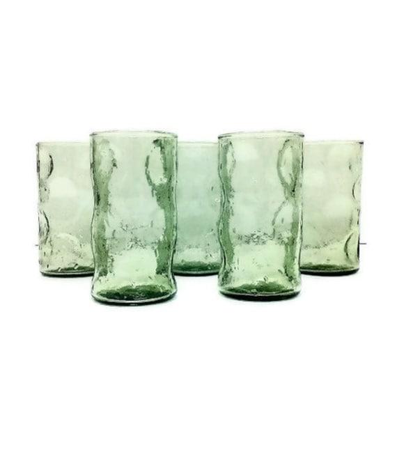 Blenko Glasses Green Dimpled Tumblers