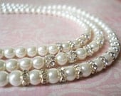 White Pearl Necklace Bridal Necklace Sparkly Wedding Jewelry Elegant Bridal Jewelry Bridal Pearl Necklace Special Occasion Necklace Silver