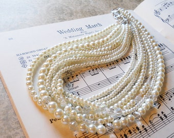 Wedding Jewelry Necklace Crystal Pearl Necklace Multiple Pearl Strands Bridal Pearl Necklace Ivory Wedding Necklace Elegant Bridal Jewelry
