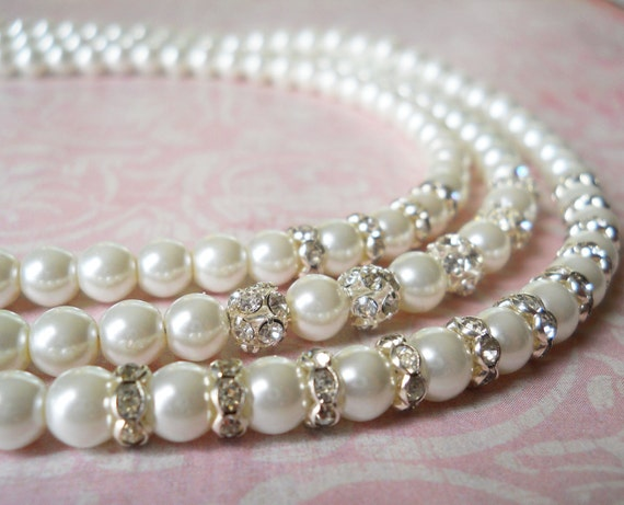 Wedding Jewelry White Pearl Necklace Sparkly Bridal Necklace Crystal Pearl Necklace Bridal Jewelry Pearl Elegant Bridal Necklace Ivory Pearl