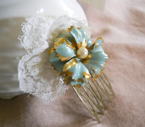 Bridesmaids Hair Accessory, Bridal Hair Accessory, Blue Bridal Hair Accessory, Bridal Hair Comb, Vintage Style Bridal Hair Accessory