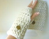 Chunky Crochet Fingerless Gloves in Ivory with Vintage Brass Buttons