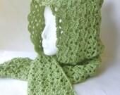 Crochet Hood for Women, Lace Hat in Ivy Green