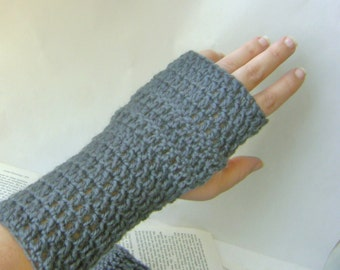 Crochet Wrist Warmers in Steel Gray Wool, Fingerless Gloves Ready to Ship