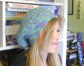 Slouchy Crochet Beret Hat in Soft Blue Green Multicolored Chunky Wool