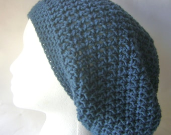 Slouchy Beret Hat, Slouchy Crochet Beanie in Teal Blue, Womans Hat, Crochet Hat