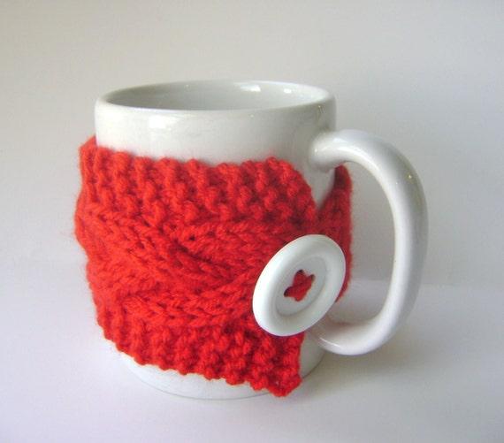 Red Cup Cozy, Mug Cozy, Tea Cozy, Bright Red Coffee Cozy Ready to Ship