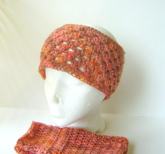 Crochet Fingerless Gloves and Headband Neck Warmer/Ear Warmer Variegated Orange