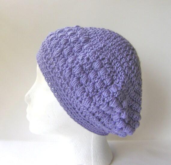 Crochet Beanie Hat, Women's Beanie in Lilac Merino Blend