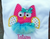Cupcake Polka dot owl Initial / number birthday SHIRT / onesie for girl with or without tu-tu and detachable bow