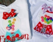 Sweet Shop Appliqued gumball / bubble gum machine with buttons on shirt with name