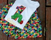 SKIRT OR SHORTS Very Hungry Caterpillar appliqued birthday shirt with matching primary color dots fabric shorts/ skirtoutfit