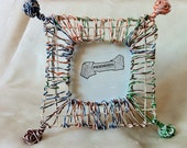 """Reclaimed Hand-Made telecommunications Wire photo frame with 3""""x3"""" window, named """"Kaliedescope"""""""