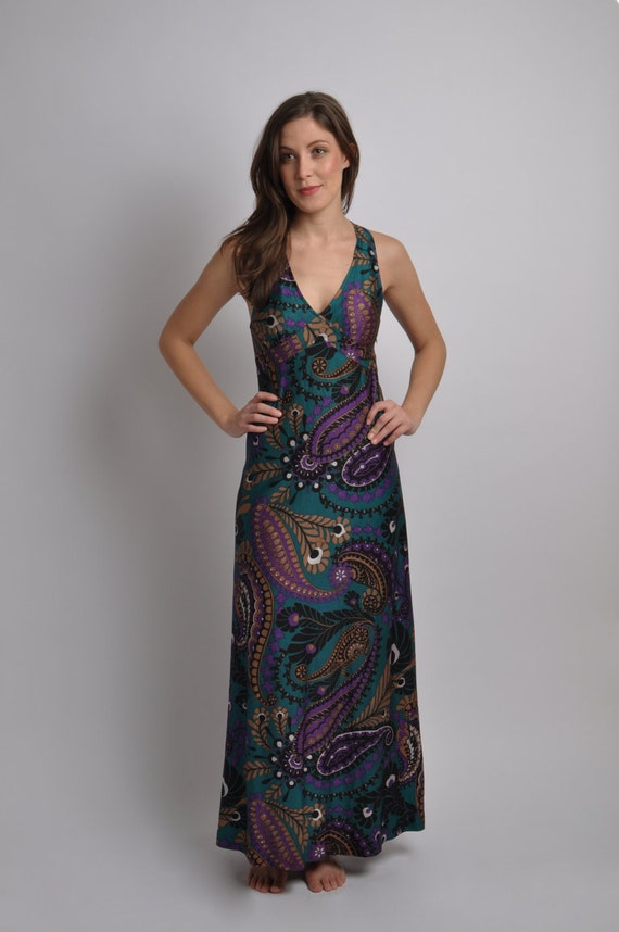 1970's Ethnic Print Maxi dress