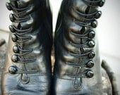 black leather victorian inspired vintage 80s granny boots - ON HOLD