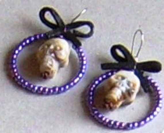 Skull earrings - Halloween, goth, funny, sugar skull, day of the dead, burlesque accessories